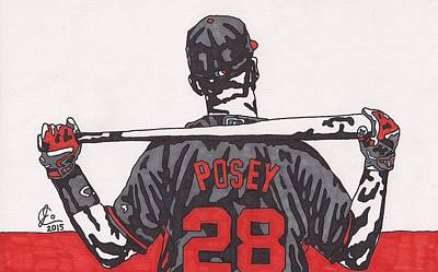 Baseball Art Drawing - Buster Posey by Jeremiah Colley