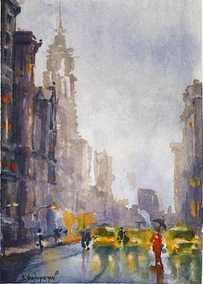 Umbrella Painting - Busy Streets Of New York by Kristina Vardazaryan