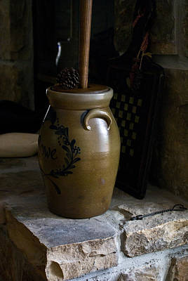 Butter Churn On Hearth Still Life Print by Douglas Barnett