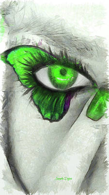 Green Eyes Painting - Butterfleye - Pencil Style by Leonardo Digenio