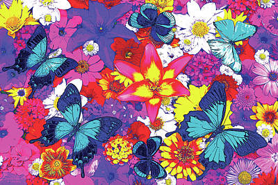 All-overs Painting - Butterflies And Flowers by JQ Licensing