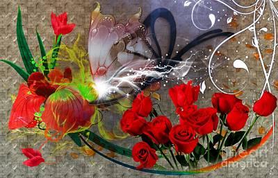 Butterflies And Flowers Original by LDS Dya