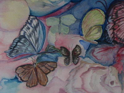 Silver Background Painting - Butterflies by Marian Hebert