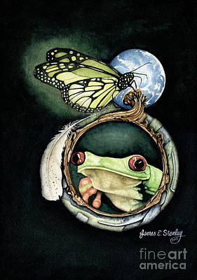 Butterfly And Frog Print by James Stanley