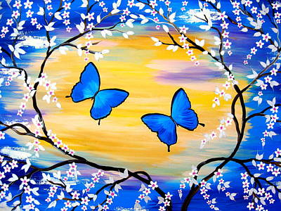 Cherry Trees Drawing - Butterfly Bliss by Cathy Jacobs