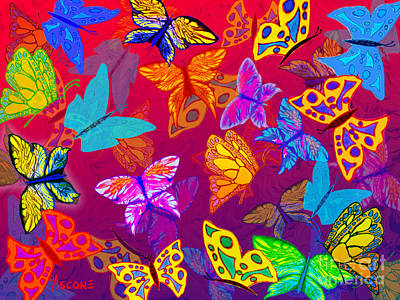 Impressionist Mixed Media - Butterfly Dreams On Red And Purple by Teresa Ascone