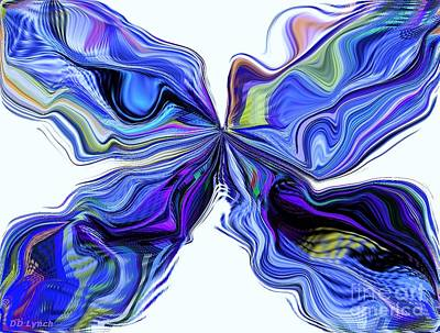 Abstract Movement Mixed Media - Butterfly In Blue And Purple by Debra Lynch