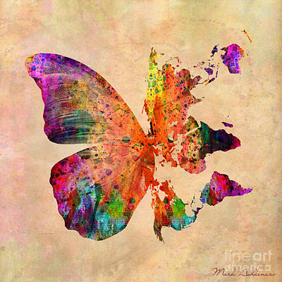 Typography Map Digital Art - Butterfly World Map  by Mark Ashkenazi