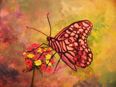 Verbena Painting - Butterly And Verbena by Anne Marie Brown