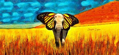 Elephants Digital Art - Butterphante - Da by Leonardo Digenio