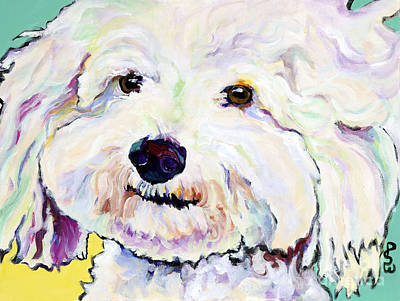 Animal Portrait Painting - Buttons    by Pat Saunders-White