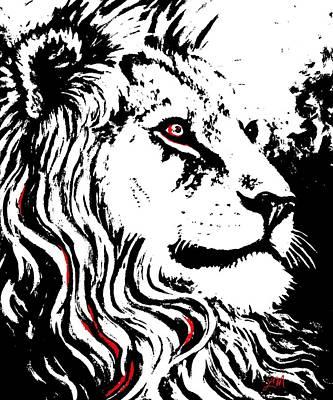 Lion Digital Art - Bwr His Impressive Mane by Linda Mears