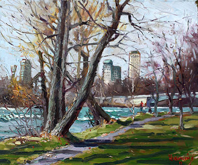 Riverside Painting - By Niagara River by Ylli Haruni