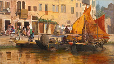 Egisto Lancerotto Painting - By The Canal by Egisto Lancerotto