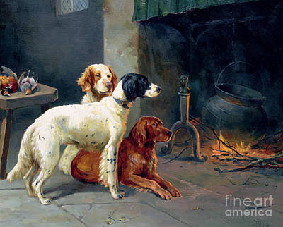 Fireplace Painting - By The Fire by Alfred Duke