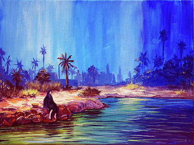 Water Painting - By The Oasis by Amani Al Hajeri