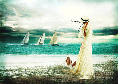 Maltese Digital Art - By The Sea by Shanina Conway