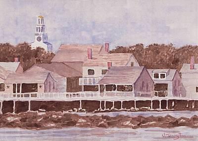 Church Pillars Drawing - By The Wharf by Bill Torrington