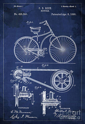 Bycicle Patent Blueprint Year 1890, Blue Vintage Background Print by Pablo Franchi