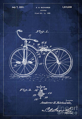 Bycicle Patent Blueprint Year 1930 Blue Vintage Poster Print by Pablo Franchi