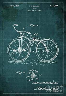 Bicycle Drawing - Bycicle Patent Blueprint Year 1930 Green Vintage Poster by Pablo Franchi