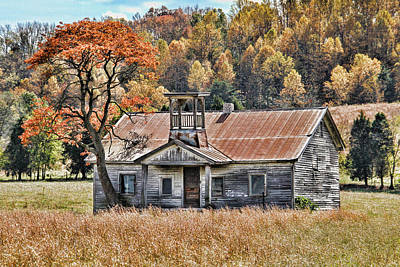 Bygone Days - Old Schoolhouse Print by HH Photography of Florida