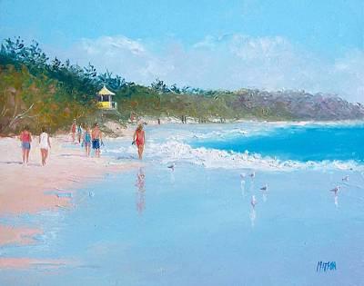 Seascape Painting - Byron Bay Beach Walkers by Jan Matson