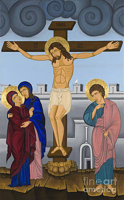 Greek Icon Painting - Byzantine Art Crucifixion  by Marinella Owens