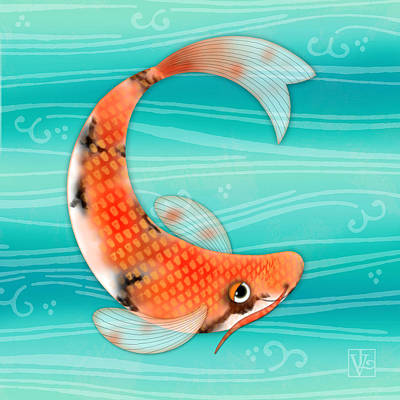 C Is For Cal The Curious Carp Print by Valerie Drake Lesiak