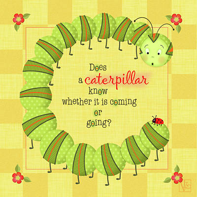 Ladybug Mixed Media - C Is For Caterpillar by Valerie Drake Lesiak