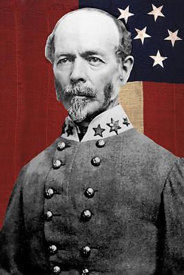 Stars And Bars Mixed Media - C S A General Joseph E. Johnston  by Daniel Hagerman