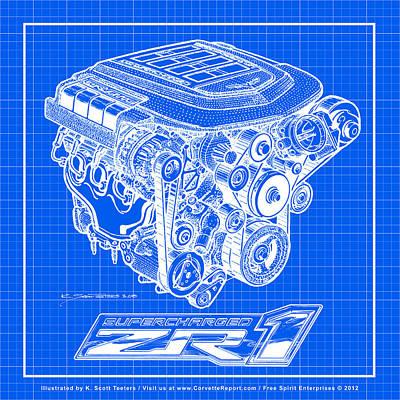 C6 Zr1 Corvette Ls9 Engine Blueprint Print by K Scott Teeters