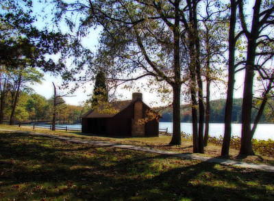Cabin By The Lake Print by Sandy Keeton