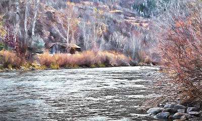 Moose Mixed Media Photograph - Cabin By The River In Steamboat,co by James Steele