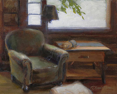 Log Cabin Painting - Cabin Interior With Yarn by Anna Rose Bain