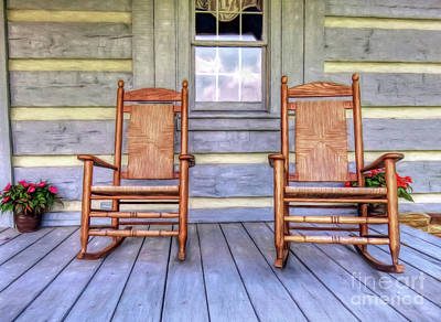Cabin Porch Print by Marion Johnson