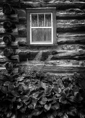 Cabin Window In Black And White Print by Greg and Chrystal Mimbs