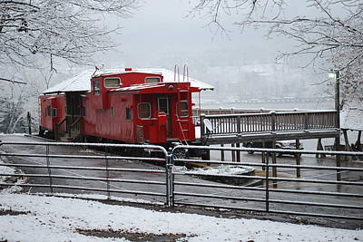 Caboose In Snow Print by Eric Armstrong