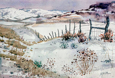 Snow Scene Landscape Painting - Cache Valley Meadows  by Donald Maier
