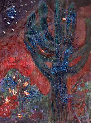 Cactus At Night In The Dark Yet Bright Print by Anne-Elizabeth Whiteway