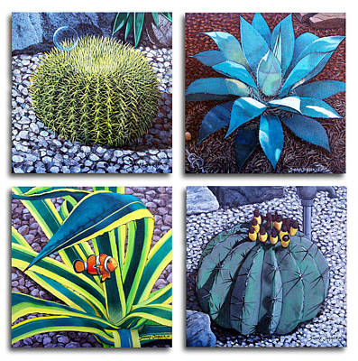 Barrel Painting - Cactus Close Ups by Snake Jagger