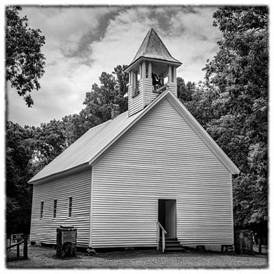 Cades Cove Primitive Baptist Church - Bw W Border Print by Stephen Stookey