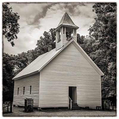 Cades Cove Primitive Baptist Church - Toned Bw W Border Print by Stephen Stookey