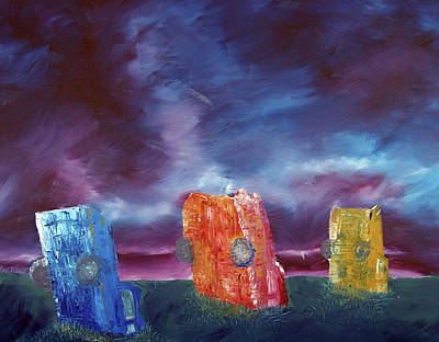 Unique Oil Painting - Cadillac Ranch by Jera Sky