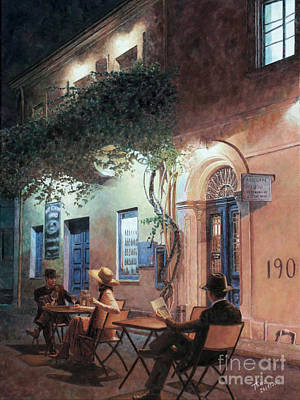 Pulp Painting - Cafe At Night by Theo Michael