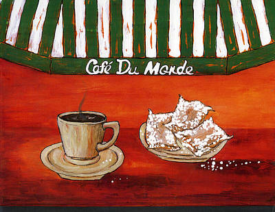 Painting - Cafe Au Lait And Beignets Red by Catherine Wilson