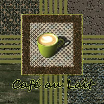Warm Photograph - Cafe Au Lait - Coffee Art - Green by Anastasiya Malakhova