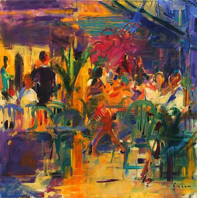 Eating Painting - Cafe De La Place  St Paul De Vence by Peter Graham