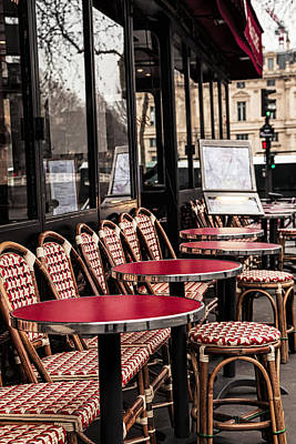 Vertical Photograph - Cafe In Red by Andrew Soundarajan