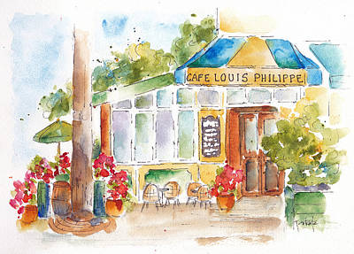 Barrel Painting - Cafe Louis Philippe by Pat Katz
